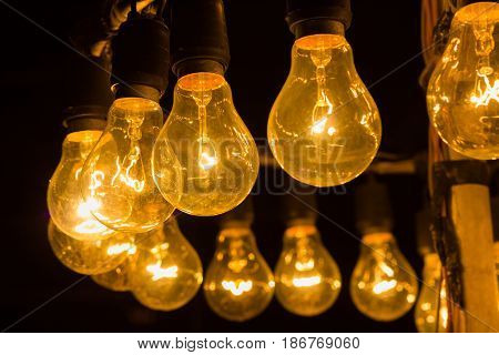 old vintage light bulbs for christmas background