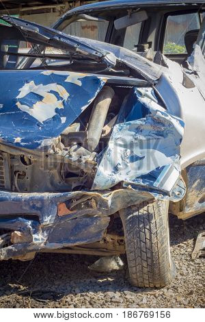 CHIANG RAI THAILAND - NOVEMBER 13 : close-up broken blue car from accident on November 13 2014 in Chiang rai Thailand.