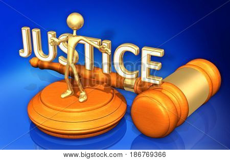 Obstruction Of Justice Legal Gavel Concept The Original 3D Character Illustration