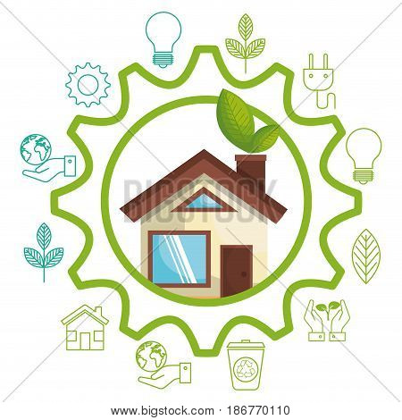 Eco friendly house with leaves framed by gear wheel and eco friendly objects over white background.