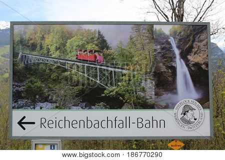 MEIRINGEN, SWITZERLAND - MAY 6, 2017: The Reichenbach falls where according Sir Arthur Conan Doyle Sherlock Holmes vanquished Professor Moriarty on May 4, 1891