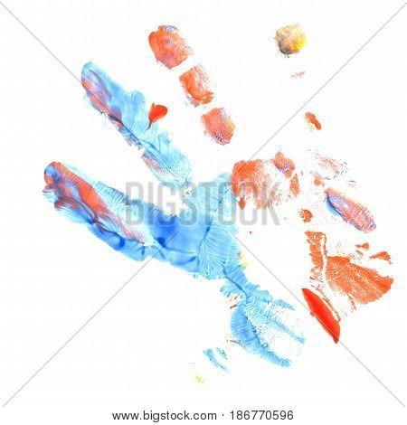 Blue and red imprint of children's hands gouache. Finger paint. Children's creativity.