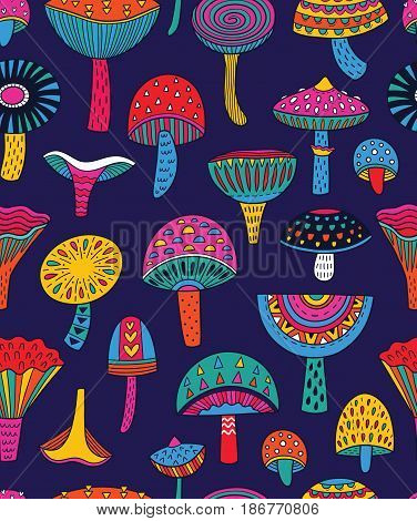 Seamless pattern of decorative mushrooms in acid colors. Vector illustration. Hallucinogenic mushrooms background