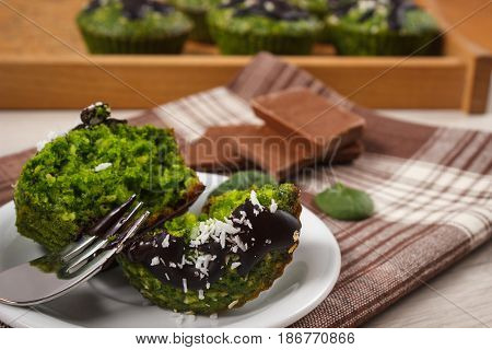 Muffins With Spinach, Desiccated Coconut And Chocolate Glaze, Delicious Healthy Dessert