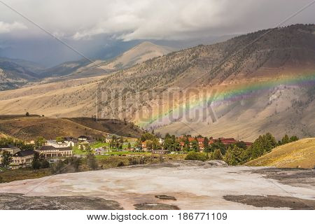 Rainbow over Mammoth Community in Yellowstone National Park Wyoming USA.