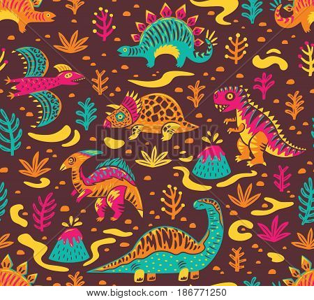 Dinosaurs seamless pattern in cartoon style. Prehistoric period. Vector illustration. The background is made in brown colors. Ideal for wrapping paper, fabric textile design, banner, party invite, nursery and other.