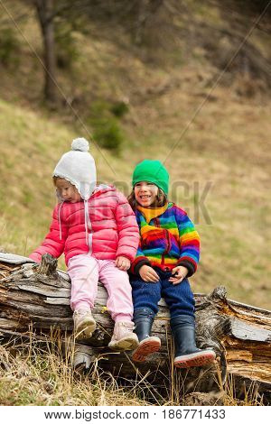 Happy two little kids friends siiting together on tree trunk