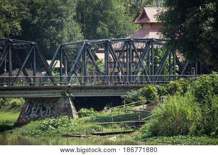 Old Iron Bridge Across Ping River