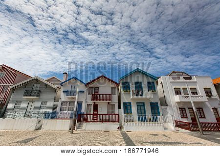 Striped houses in Costa Nova, Portugal.