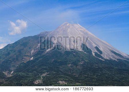beutiful view of mountain merapi,jogjakarta,Central Java, Indonesia