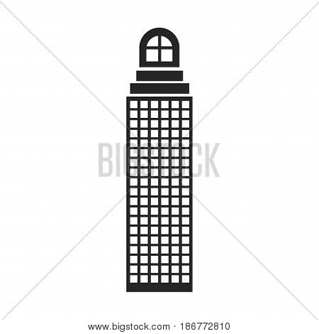 silhouette monochrome of building skyscraper with cusp window and several windows vector illustration