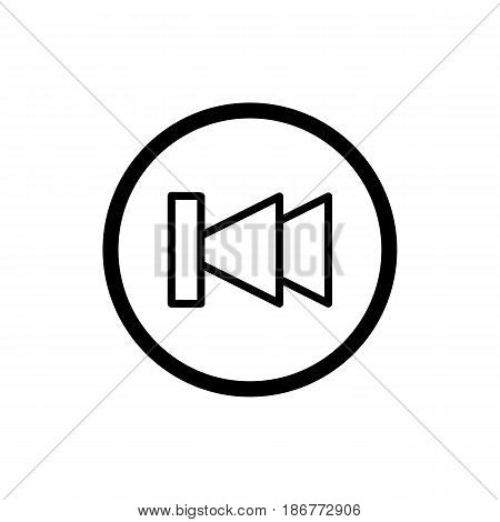 fast back rewind media player vector icon. Linear outline icon isolated on white. eps 10