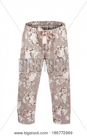 Pants with floral print, isolated on white