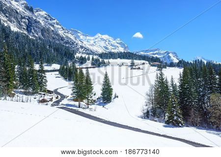 Beautiful Snow Alps Mountain at Jungfrau Switzerland.