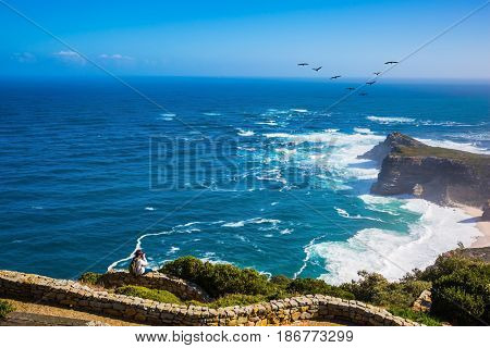 Cape of Good Hope - the most south-westerly point of Africa. Flock of migratory birds at sunset. The powerful ocean surf in the Atlantic Ocean