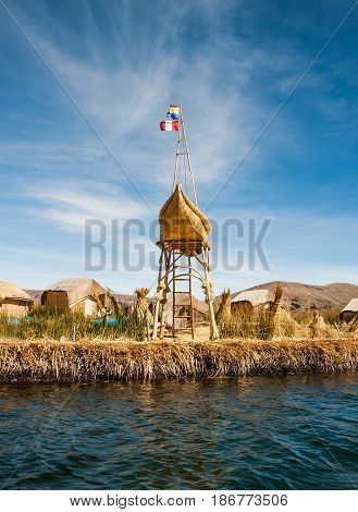 Uros are Floating Islands on the Titicaca lake, Peru