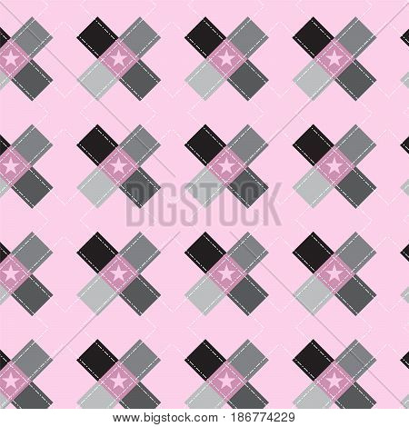 black and silver shade cross shape with double dot line pattern on soft pink background vector illustration image