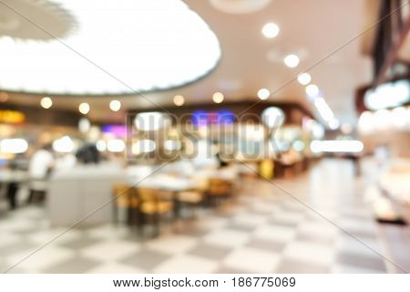 Blur food court in shopping mall for background