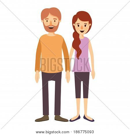 colorful image caricature full body couple woman with ponytail side hair and man in casual clothing vector illustration