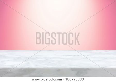 Marble stone table top on pink gradient abstract background - can be used for display or montage your products