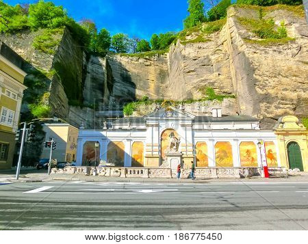 Salzburg, Austria - May 01, 2017: The Horsepond at the Herbert von Karajan Platz in Salzburg, Austria on May 01, 2017
