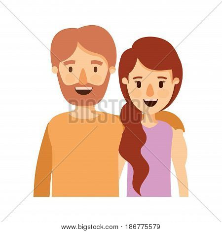 colorful image caricature half body couple woman with ponytail side hair and bearded man vector illustration