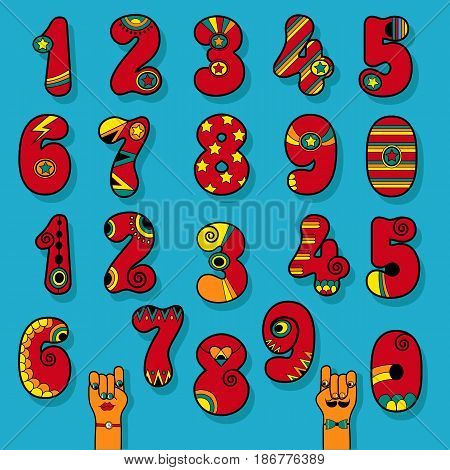 Set of Vintage Numerals. Red signs with bright colorful decor. Superhero and Disco Style. Cartoon Hands. Vector Illustration
