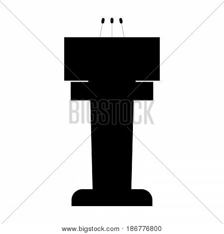 Rostrum With Three Microphone The Black Color Icon .