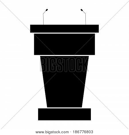 Rostrum With Two Microphone The Black Color Icon .