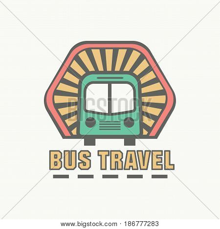 best bus tour badge logo for traffic service tourism, color emblem, vector flat style illustration isolated