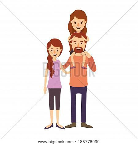 colorful image caricature family with mother and father with moustache and girl on his back vector illustration