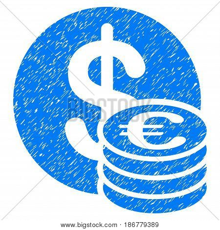 Grunge Euro And Dollar Coins icon with grunge design and scratched texture. Unclean vector blue pictogram for rubber seal stamp imitations and watermarks. Draft emblem symbol.