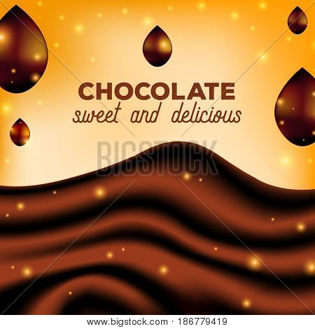 Abstract Chocolate Background with Drops, Brown Silk, Vector Illustration. Sweet sauce
