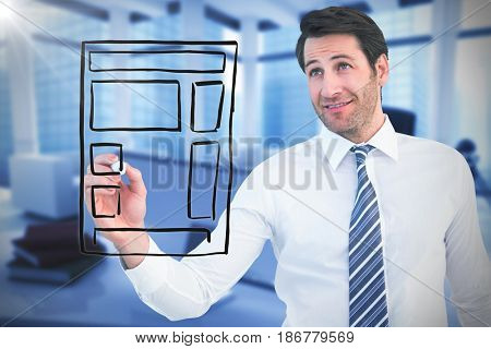 Smiling businessman writing with black marker against computer generated image of workplace