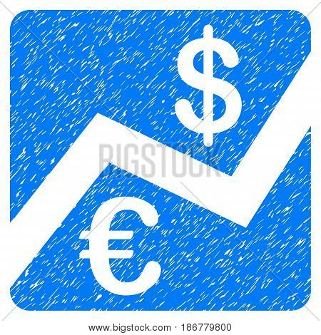 Grunge Euro And Dollar Finance icon with grunge design and unclean texture. Unclean vector blue pictogram for rubber seal stamp imitations and watermarks. Draft emblem symbol.