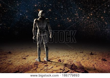 Futuristic Fantasy Landscape - One Person Standing On Desert Land Gazing Up At The Stars Shining On