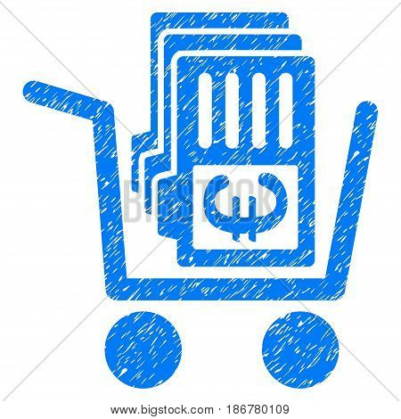 Grunge Euro Cash Out Cart icon with grunge design and dirty texture. Unclean vector blue pictogram for rubber seal stamp imitations and watermarks. Draft emblem symbol.
