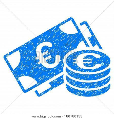 Grunge Euro Cash icon with grunge design and dirty texture. Unclean vector blue pictogram for rubber seal stamp imitations and watermarks. Draft emblem symbol.