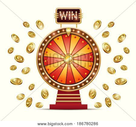 Vector cartoon illustration of a glowing wheel fortune or luck and gold coins scattered in different directions, isolated on a light background