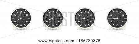 Closeup group of black and white clock with shadow for decorate show the time in 8 8:15 8:30 8:45 a.m. isolated on white background beautiful 4 clock picture in different time