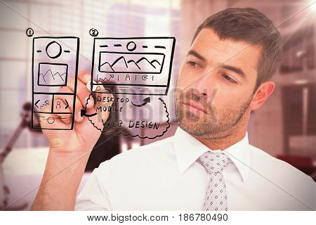 Concentrated businessman writing with marker against digitally generated image of workplace