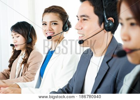 Call center (operator or telemarketer) team - telemarketing and customer service concept