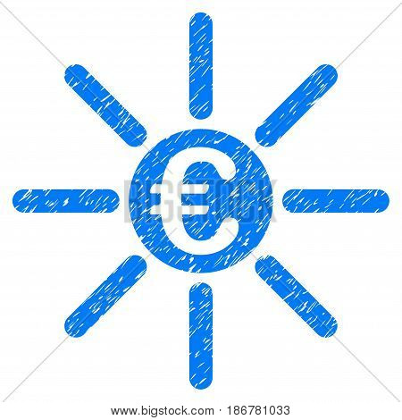 Grunge Euro Distribution icon with grunge design and scratched texture. Unclean vector blue pictogram for rubber seal stamp imitations and watermarks. Draft sticker symbol.