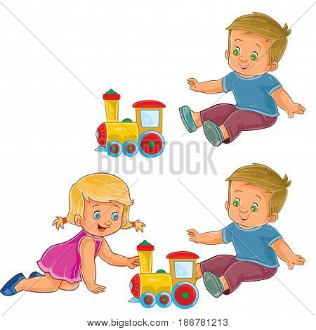 Vector clip art illustration of a little girl and boy playing with a steam locomotive. Print, template, design element