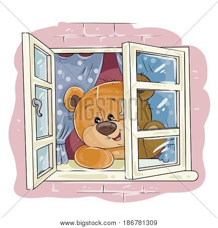 Vector illustration of a teddy bear waiting for someone at an open window. I miss you. Print, template, design element