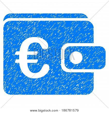 Grunge Euro Purse icon with grunge design and dirty texture. Unclean vector blue pictogram for rubber seal stamp imitations and watermarks. Draft sign symbol.