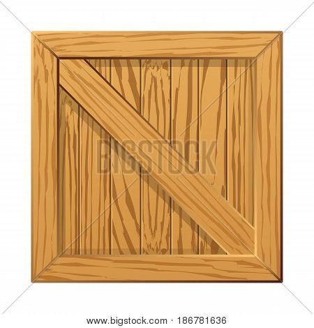 Realistic image of a wooden crate. Wood box. Vector illustration.