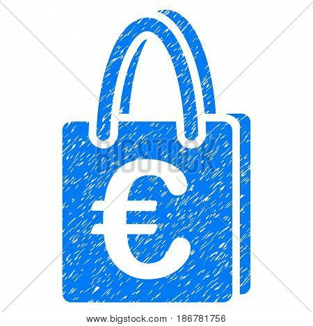 Grunge Euro Shopping Bag icon with grunge design and unclean texture. Unclean vector blue pictogram for rubber seal stamp imitations and watermarks. Draft emblem symbol.