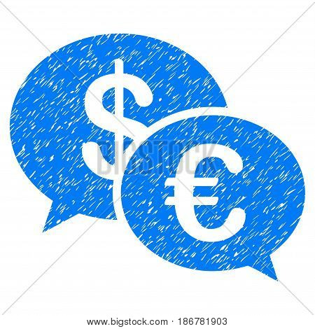 Grunge Euro Transaction Messages icon with grunge design and scratched texture. Unclean vector blue pictogram for rubber seal stamp imitations and watermarks. Draft emblem symbol.