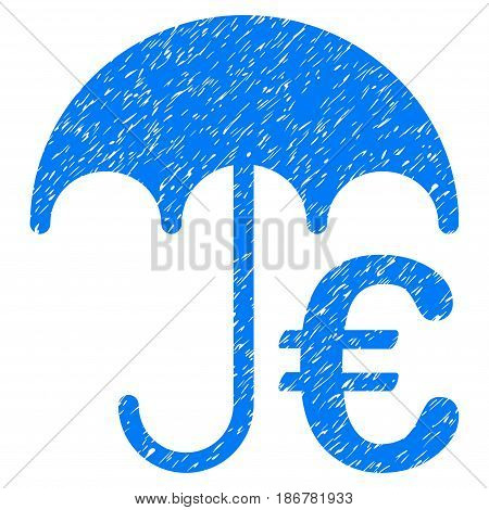 Grunge Euro Umbrella icon with grunge design and scratched texture. Unclean vector blue pictogram for rubber seal stamp imitations and watermarks. Draft sign symbol.